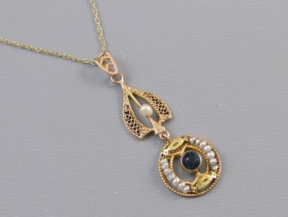 Antique Edwardian 10k filigree blue sapphire paste and seed pearl lavalier pendant necklace / lavaliere
