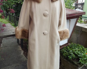 Vintage Tan Wool Swing Coat with Mink Collar and Cuffs