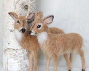 Deer Doe and Buck Needle Felted Pair, White Tailed