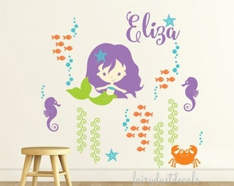 Mermaid Wall Decal - personalized name decal - new design - Baby Girl Nursery Decorations - includes seaweed starfish crab seahorse fish