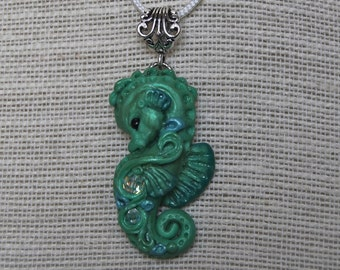 Baby Seahorse sculpted polymer pendant necklace.  Crystals.  By Luxembears