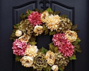 Spring Hydrangea Wreath - Spring Peony Wreath - Spring Wreath - Spring Dahlia Wreath