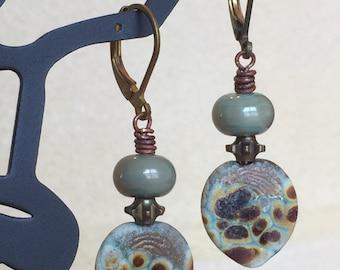 Aqua Lampwork Leaf Earrings