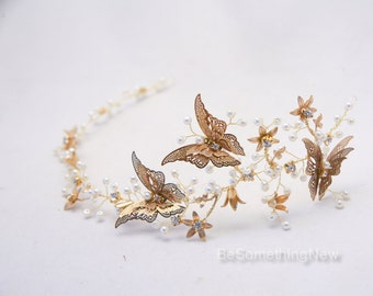 Rustic Gold Hair Vine of Metal Butterflies and Flowers, Beaded Woodland Wedding Hair Halo Flower Crown Boho Wedding Bridal Hair Wreath