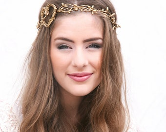 Twisted Golden Berry and Rustic Heart Woodland Wedding Wreath Wedding Crown, Boho Wedding Headpiece, Festival Halo Tie Headband