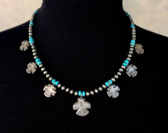 N08 Mini Squash Blossom Boho Style Necklace Sterling Silver Turquoise Santa Fe Pearls Seven Thunderbirds