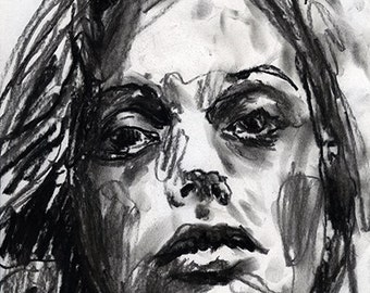 ORIGINAL Drawing charcoal one of a kind handmade