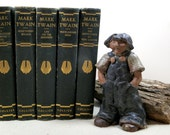 Antique Mark Twain 5 Volume Collection, P.F. Collier & Son pre 1920s Set Classic Literature, Wonderful Condition, Collector or Vtg Display