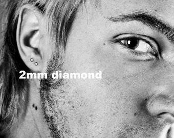 Diamond stud earrings in black setting, cz diamond, men's stud earrings, black stud earrings, tiny stud earrings, everyday studs, 421H