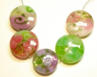 Five (5) Shades of Pinks, Purples, and Greens Lampwork Floral Coin Beads -- Lot 3G