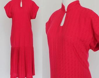 80's Shift Sheath Dress / Drop Waist / Red Midi Dress / Pleated Skirt / Small to Medium