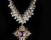 HUGE Czech cross necklace dripping in rhinestones Purple Bijoux cluster collar Gothic Renaissance jewelry