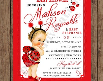 Custom Printed Shabby Chic - Antique - Vintage - Ladybug Baby Shower Invitations - 1.00 each with envelope