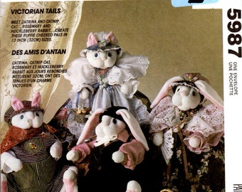 """McCall's Crafts 5987 Sewing Pattern - Victorian Tails - 13"""" Cat and Bunny Dolls With Clothes"""