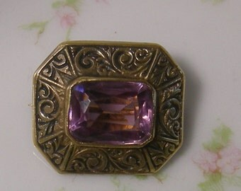 18k Gold Plated Antique Victorian Faux Amethyst Brooch - 1800's