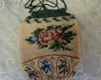 Victorian Antique Beaded Purse - Micro Beaded Drawstring Bag - Pink And Blue Rose Glass Beads - REDuCED