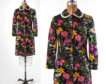 Vintage 1960s Floral Dress, Flower Power Dress, Mod Black Shift Dress with Bright Flowers, Women's Clothing, Dresses