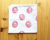 daruma doll handkerchief.  japanese tenugui hand towel. pure cotton wipe. hand stamped body wash cloth. table wipe. baby shower gifts