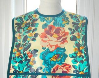 Rose Vine Bib - NEW - vinyl covered regular size adult bib with pocket