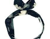 Black dolly bow, flower wire headband, teen hair clip