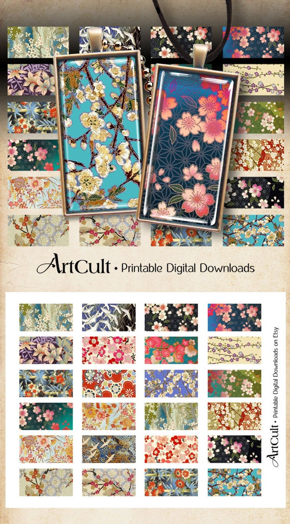 Printable Download WASHI ORNAMENTS 1x2 inch Digital Collage Sheet domino size Japanese paper images for pendants scrapbooking bezel trays