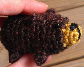 Bitty Grizzly Bear - miniature amigurumi pocket animal friend crochet