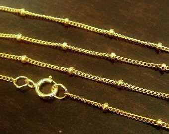 FINISHED Satellite Chain Necklace,  14k Gold Filled, 18 INCHES, 1mm chain, 1.9mm bead