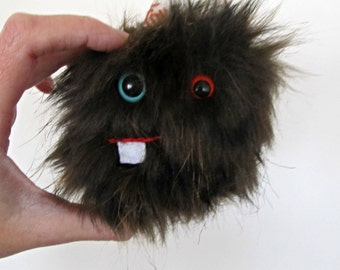 Plush Monster Minor in Brown Faux Fur Small Miniature Handmade Hand Embroidered Soft Toy