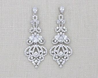 Bridal chandelier earrings, Crystal Wedding earrings, Art Deco earrings, Bridal jewelry, Long earrings, Wedding jewelry, Swarovski earrings