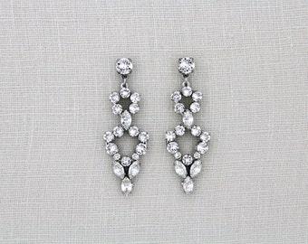 Crystal Bridal earrings, Vintage Wedding earrings, Swarovski crystal earrings, Bridal jewelry, Chandelier earrings, Rhinestone earrings