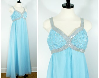 Vintage Formal Gown, 1960s Turquoise Blue Sequin and Chiffon Prom Dress by Gloriette, Empire Waist Long Sequin Maxi Gown Size L