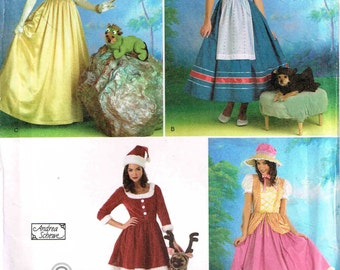 Little bo peep, Princess, Santa Pet Dog Deer Antlers Spider Halloween Costume Sewing Pattern Size 6 8 10 12 Bust  30.5 31.5 32.5 34