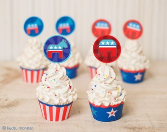 Cupcake Printables Election Party Political Debate Party DIY cupcake kit Cupcake Wrappers Toppers Republican Elephant Democrat Donkey