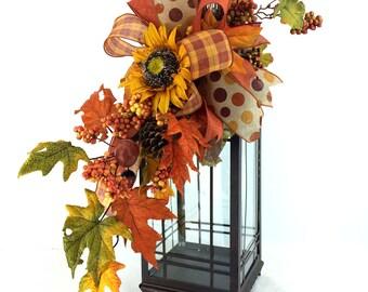 Fall Sunflower Lantern Swag, Fall Lantern Swag, Autumn Lantern Floral Arrangement, Fall Mantle Decor, Fall Table Decor
