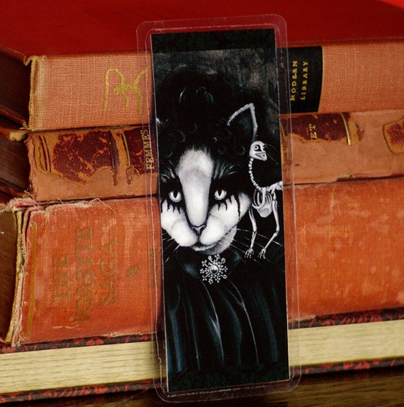 Gothic Cat Art Bookmark, Wuthering Heights, Dead Raven Skeleton, Victorian Cat Art