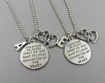 Best Friends Side By Side or Miles Apart Necklace - Long Distance Friendship Necklace, Personalized Name Initial, Best friends