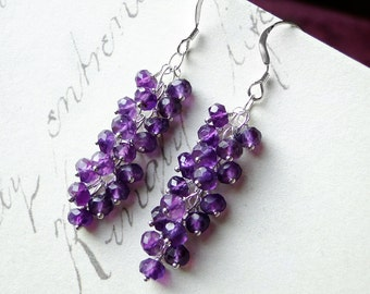Amethyst Earrings on Sterling Silver - Violet Cascade by CircesHouse on Etsy