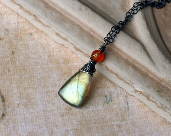 Labradorite Necklace with Carnelian - Woodflame by CircesHouse on Etsy