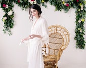 Long Robe, jersey robe, lace robe, bridal robe, ivory robe - Stella - READY TO SHIP*