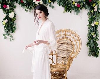 Long Robe, jersey robe, lace robe, bridal robe, ivory robe - Stella - small is READY TO SHIP
