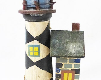 CLEARANCE Light house figurine nautical home decor wooden