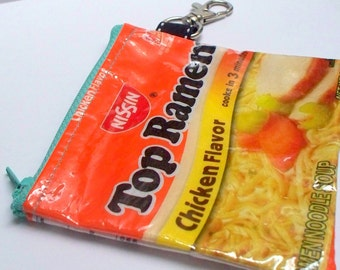 UPCYCLED Top Ramen bag RECYCLED into key chain coin purse
