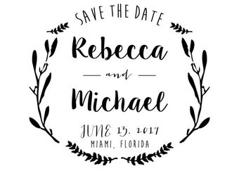 A Rebecca Save the Date Rubber Stamp