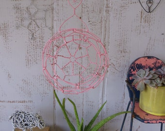 Small Wire Hanging Sphere Basket In Pink