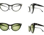 Vintage 50s 60s Black Cat Eye Glasses Larger Vintage CatsEyes Eyeglass Sunglass Frame Rockabilly Librarian Nerd Prescription Quality on sale