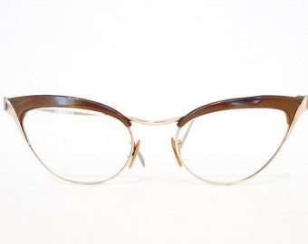 Gold Wing Cat Eye Glasses 12K GF Winged CatsEyes Frame Vintage 60s Eyewear Mad Men Eyeglasses or Sunglasses Women