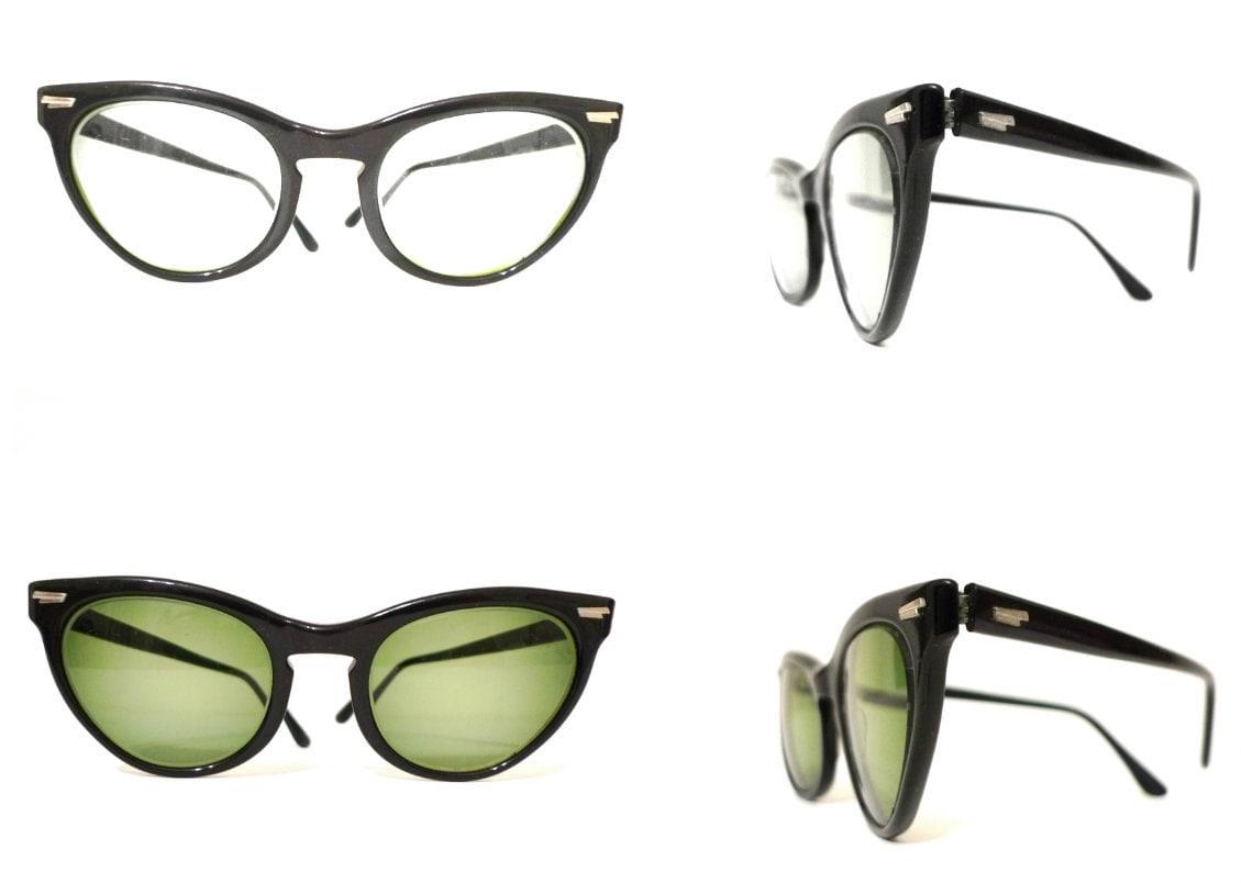 Vintage Eyeglass Frames New York City : Vintage 50s 60s Black Cat Eye Glasses Larger Vintage CatsEyes