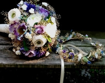 Thistle Dried Bouquet and Flower Crown blue lavender purple Wildflower summer wedding hair wreath  accessories Made to Order