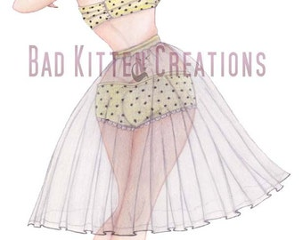 "Vintage Style Pinup girl art ""Petticoats & Polkadots"". Hand finished art print."