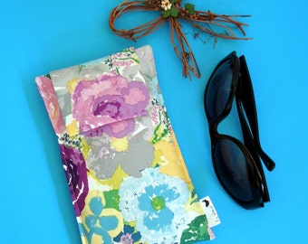 Roomy Sunglasses Case in a Watercolor Design of Flowers